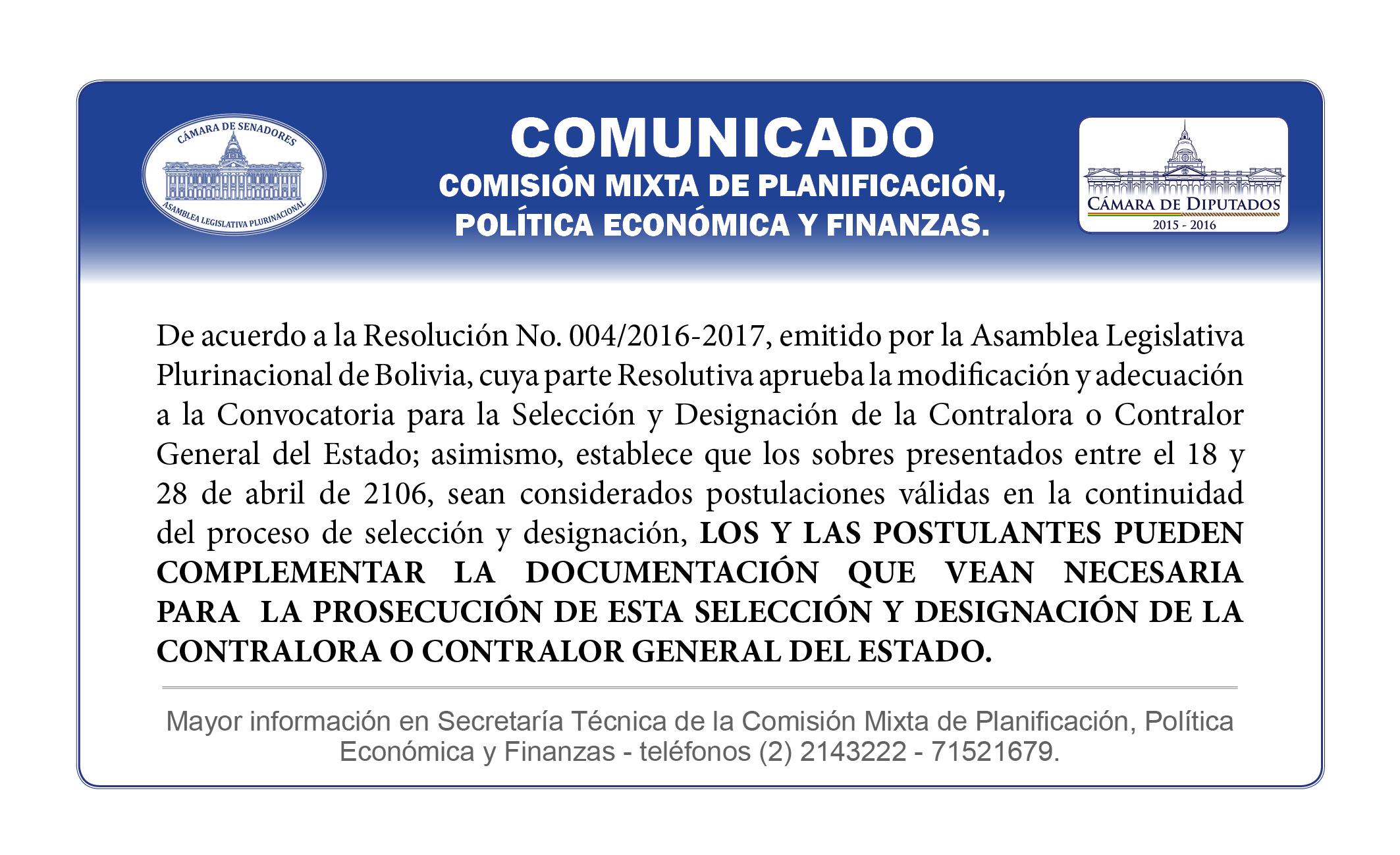 59 Postulantes a Contralor registrados hasta el 28 de abril podrán complementar documentación