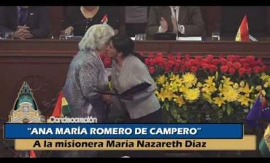 Embedded thumbnail for Condecoración Ana Maria Romero de Campero a la misionera María Nazareth Diaz