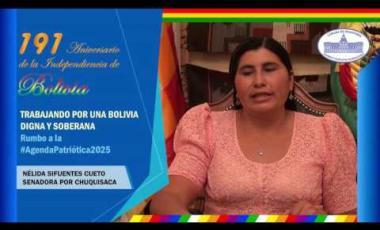 Embedded thumbnail for Senadora Nélida Sifuentes saluda los 191 años independencia Bolivia #6DeAgosto