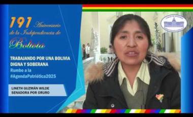 Embedded thumbnail for Senadora Lineth Guzman saluda 191 años independencia Bolivia #6DeAgosto