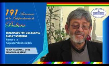 Embedded thumbnail for Senador Rubén Medinaceli saluda 191 años de independencia Bolivia #6DeAgosto