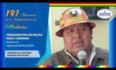 Embedded thumbnail for Senador German Isla saluda 191 años de independencia Bolivia #6DeAgosto
