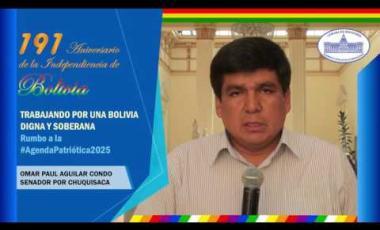 Embedded thumbnail for Senador Omar Aguilar saluda 191 años de independencia Bolivia #6DeAgosto