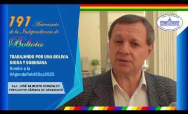 Embedded thumbnail for Pdte. de la Cámara de Senadores del Estado Plurinacional de Bolivia, José Alberto Gonzales, saluda los 191 años de la independencia de Bolivia