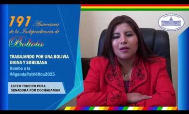 Embedded thumbnail for Senadora Ester Torrico Peña saluda los 191 años independencia Bolivia #6DeAgosto