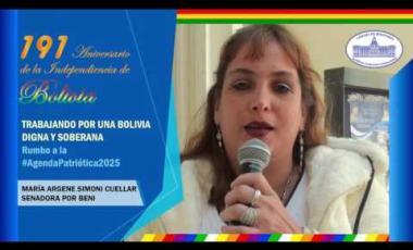 Embedded thumbnail for Senadora Argene Simoni saluda 191 años de independencia Bolivia #6DeAgosto