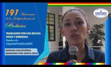Embedded thumbnail for Senadora Adriana Salvatierra saluda 191 años de independencia de Bolivia #6DeAgosto