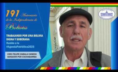 Embedded thumbnail for Senador Ciro Zabala saluda 191 años de independencia Bolivia #6DeAgosto