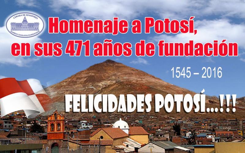 Senado aprueba homenaje a los 471 años de fundación de Potosí